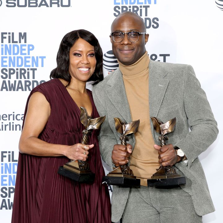 Regina King and Barry Jenkins at the 2019 Film Independent Spirit Awards in Santa Monica, California.