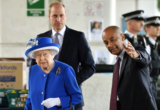Lord-Lieutenant for London Sir Ken Olisa greets the Queen and the Duke of Cambridge as they meet members...