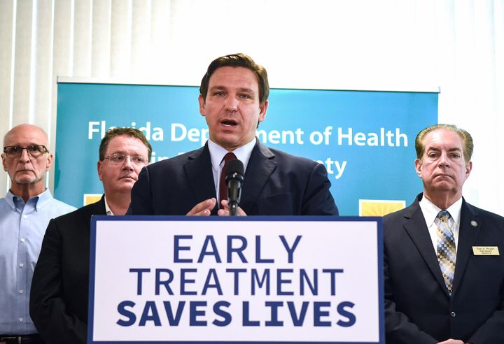 DeSantis holds a news conference on Sept. 1 to announce that the state has provided more than 40,000 monoclonal antibody trea