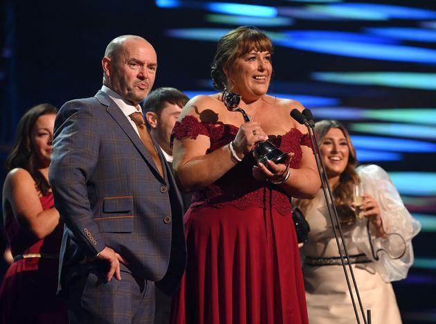 Julie Malone accepts Gogglebox's award at the