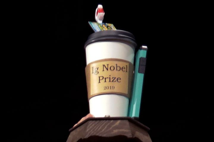 FILE - In this Sept. 12, 2019 file photo, the 2019 Ig Nobel award is displayed at the 29th annual Ig Nobel awards ceremony at