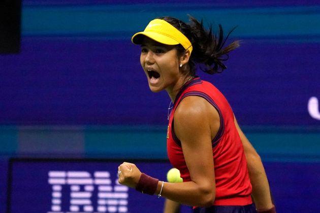 Britain's Emma Raducanu celebrates a point against Greece's Maria Sakkari during their 2021 US Open tennis...