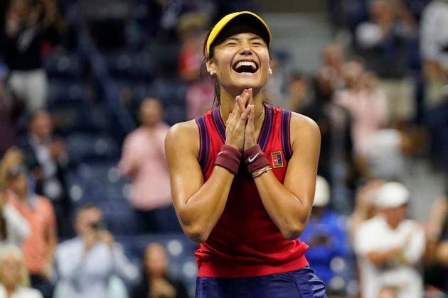 Emma Raducanu, of Great Britain, reacts after defeating Maria Sakkari, of
