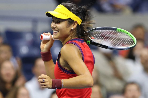 Emma Raducanu of Great Britain celebrates going up 5-0 in the first set against Maria