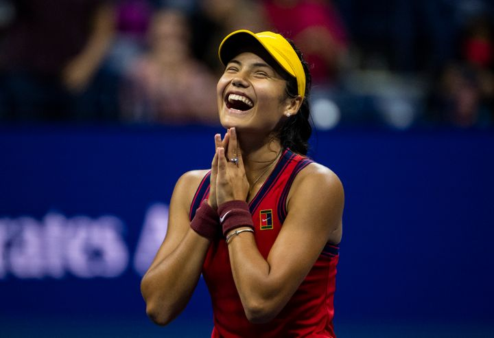 Emma Raducanu celebrating her victory over Maria Sakkari in the semifinals of the US Open.
