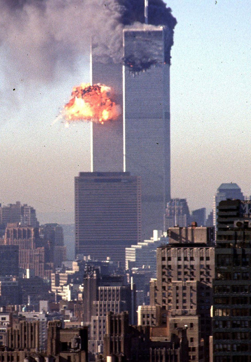 A hijacked commercial plane crashes into the World Trade Centre on September 11, 2001, in New