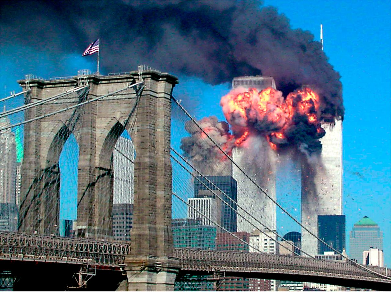 The second tower of the World Trade Center explodes into flames after being hit by an airplane in New York on Sept. 11, 2001.