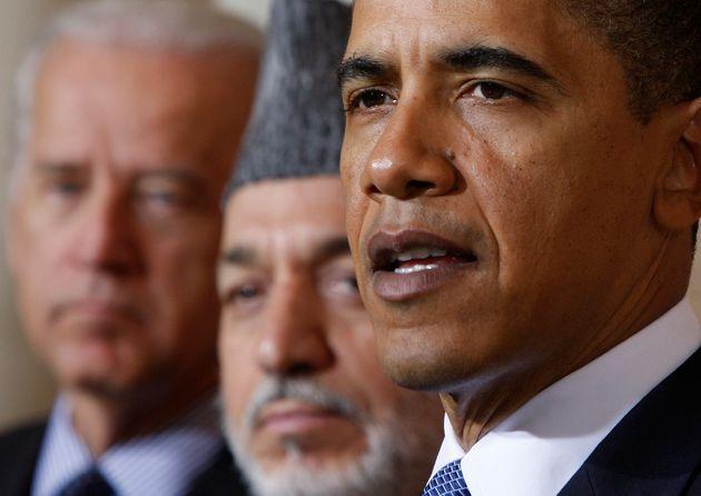 Ο πρόεδρος Ομπάμα, ο τότε αντιπρόεδρος Τζο Μπάιντεν και ο Χαμίντ