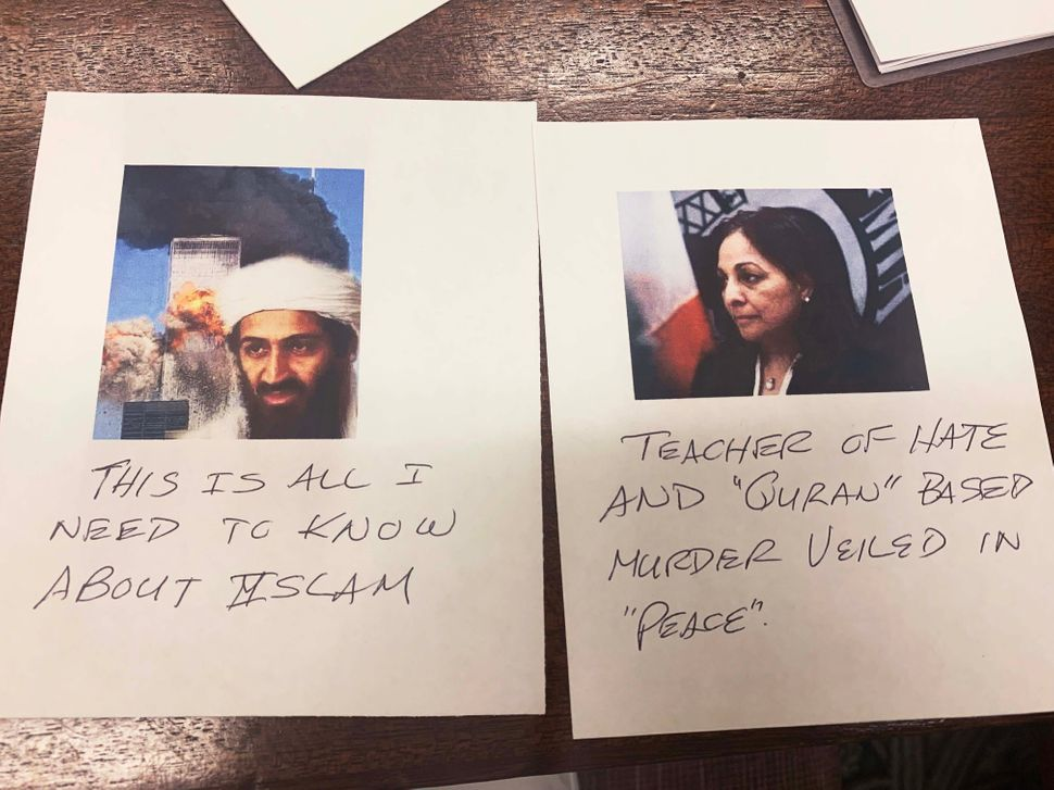 Hate mail about Cordoba House, a proposed Islamic center in Lower Manhattan.