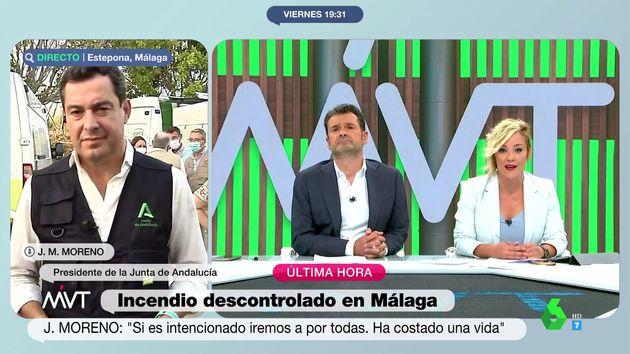 El presidente de Andalucía, Juanma Moreno, durante la entrevista en 'Más Vale