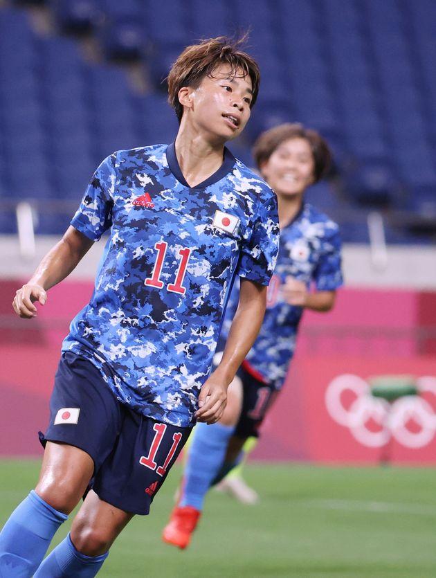 東京五輪サッカー女子準々決勝・スウェーデン-日本。前半、同点ゴールを決めた田中美南 =7月30日、埼玉スタジアム