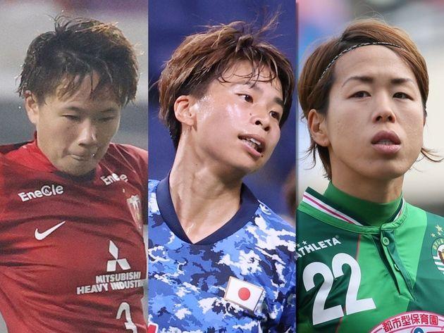 左から南萌華選手、田中美南選手、岩清水梓選手