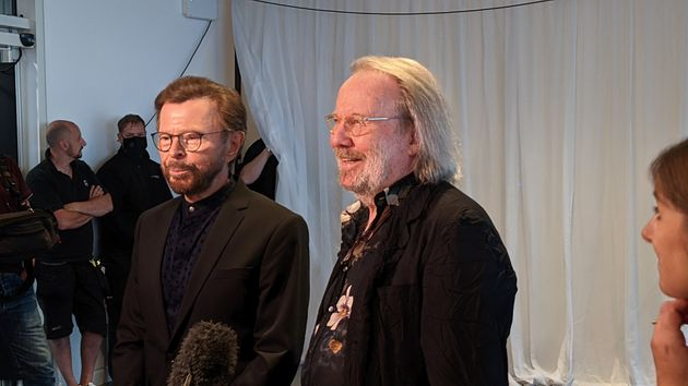 dpatop - 02 September 2021, United Kingdom, London: Björn Ulvaeus (l) and Benny Andersson, members of ...