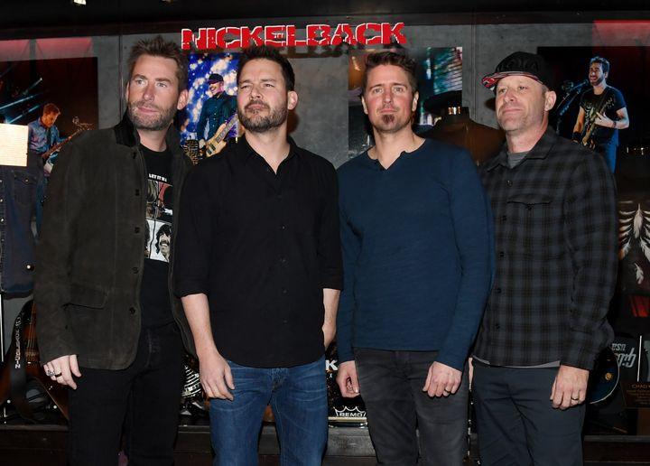 From left to right: frontman Chad Kroeger, guitarist Ryan Peake, drummer Daniel Adair and bassist Mike Kroeger of Nickelback in Las Vegas, 2018.