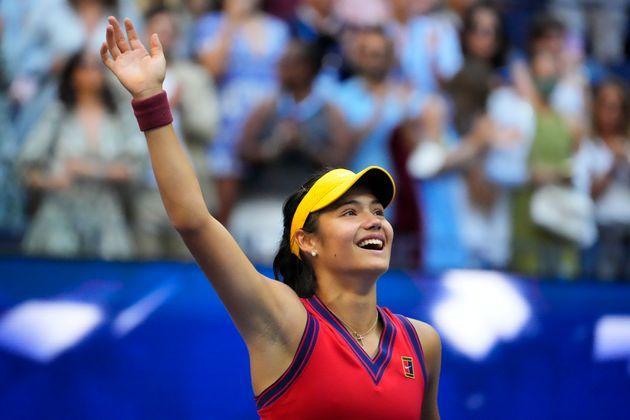 Emma Raducanu après sa victoire en finale de l'US Open, à New York, le 11 septembre