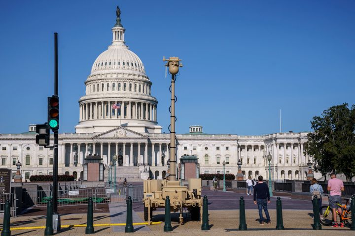 A video surveillance apparatus is seen on the East Front of the Capitol in Washington on Sept. 10 as security officials prepa