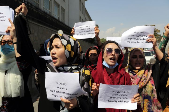 Women gather to demand their rights under the Taliban rule during a protest in Kabul, Afghanistan on Sept. 3.