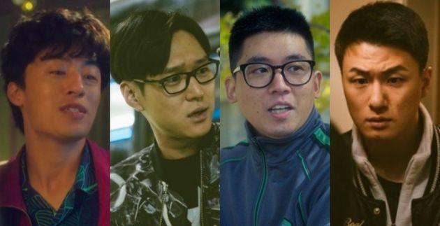 왼쪽부터 <디피> 한호열(배우 구교환), 박성우(배우 고경표), 조석봉(배우 조현철), 황장수(배우