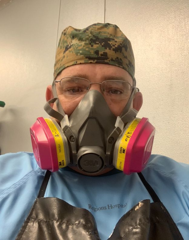 The author wearing his personal protective equipment.
