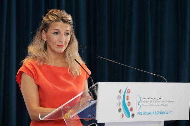 Yolanda Díaz, vicepresidenta segunda y ministra de Trabajo durante un acto en