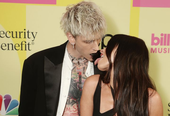 Machine Gun Kelly and Megan Fox arrive to the 2021 Billboard Music Awards at the Microsoft Theater on May 23, 2021, in Los Angeles.