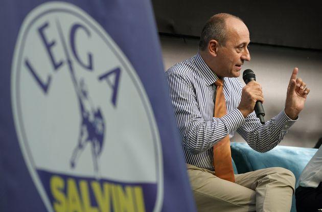 Alberto Bagnai, senator of the Lega, intervenes at the conference ''The Italians Choose Freedom'' organized...