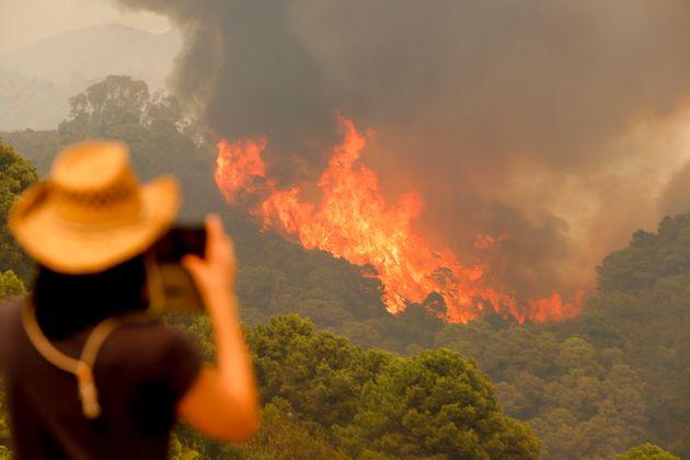 Vecina fotografía las llamas en Sierra