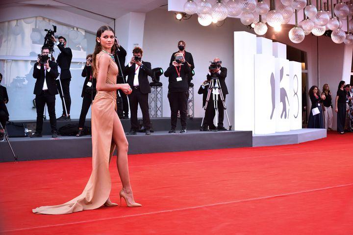 Zendaya wore a wet-looking dress to the Venice International Film Festival on Sept. 3, 2021.
