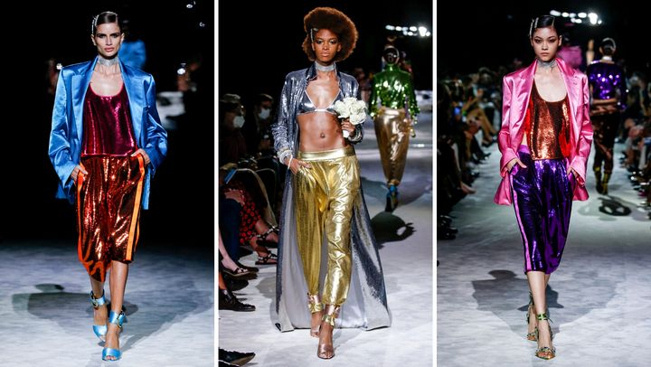 Tom Ford walked models down the runway on Sept. 12 in layers of shining, jewel- and metallic-toned fabrics.