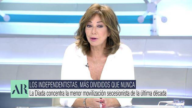 Ana Rosa Quintana este lunes en el plató de 'El programa de