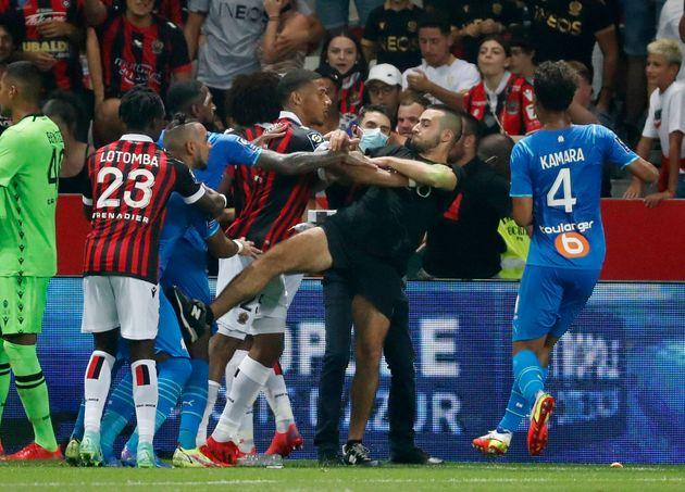 Lors des incidents émaillant le match Nice-Marseille en Ligue 1, le 22 août