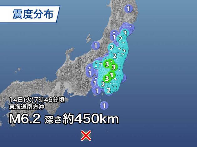 「異常震域」とは? 関東から東北の広い範囲で地震。震源は東海道南方沖