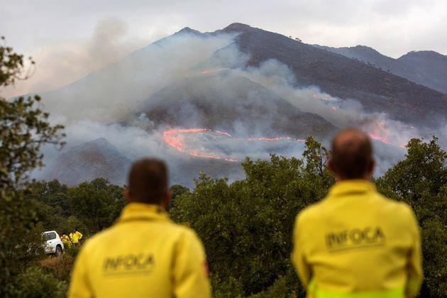 Varios medios intentan extinguir el incendio de Sierra Bermeja, este