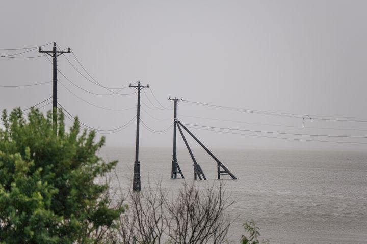 Transmission towers were already underwater ahead of Hurricane Nicholas' arrival in Galveston, Texas on Monday.