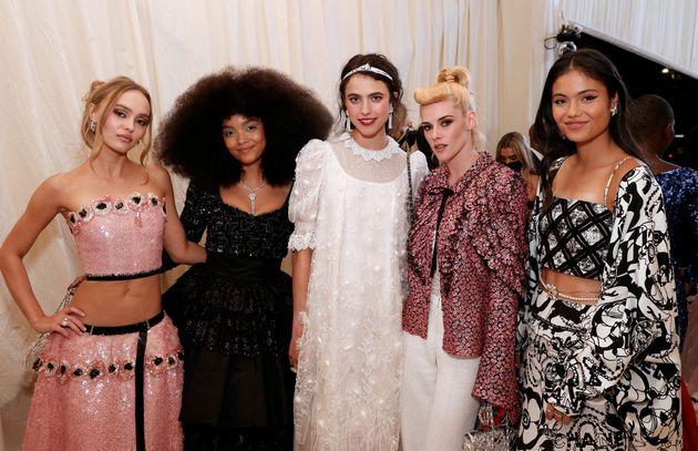 (L-R) Lily-Rose Depp, Whitney Peak, Margaret Qualley, Kristen Stewart and Emma Raducanu attend The 2021...