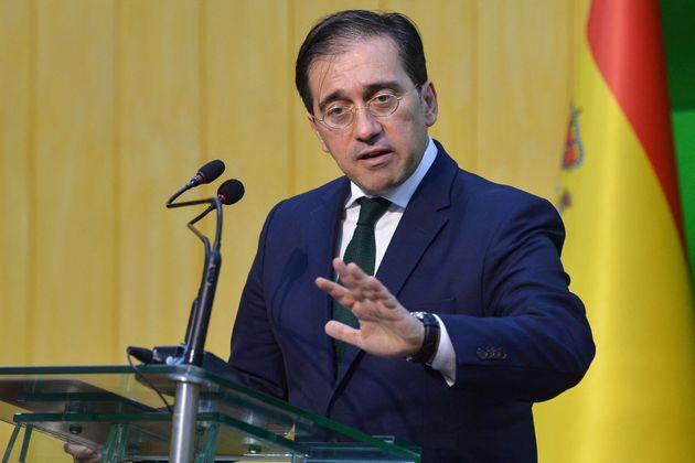 El ministro de Exteriores, José Manuel Albares, durante su visita a