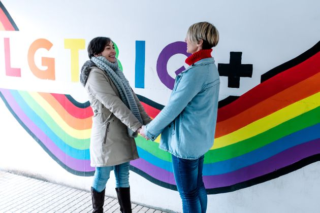 Lesbian couple hold hands and stare at each other in front of a pride flag