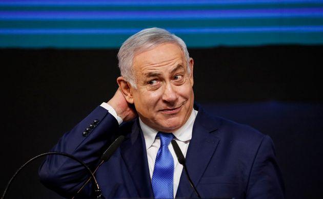 Benjamin Netanyahu, en la noche electoral de abril de 2019, en la sede del Likud de Tel