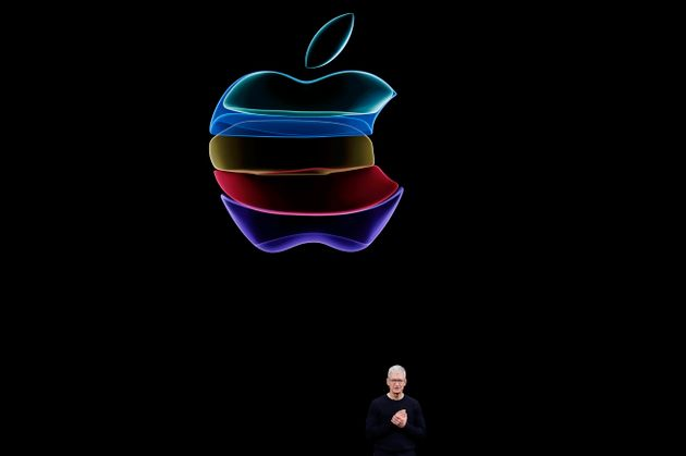 CEO Tim Cook speaks at an Apple event at their headquarters in Cupertino, California, U.S. September...