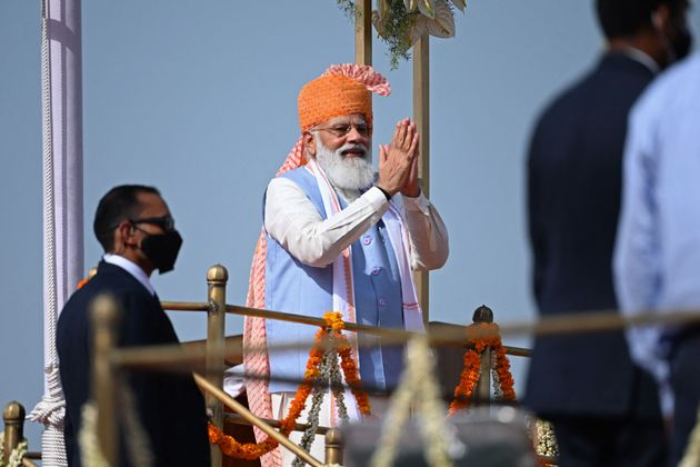 India's Prime Minister Narendra Modi gestures after addressing the nation from the ramparts of the Red...