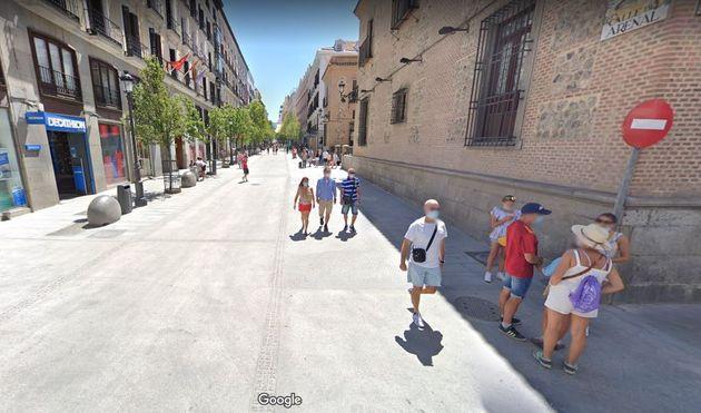 La imagen de la calle Arenal de Madrid en Google