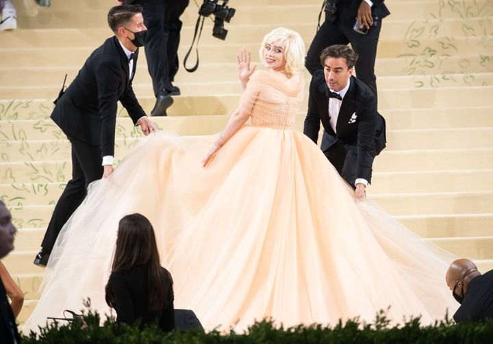 """Billie Eilish attends the 2021 Met Gala celebrating """"In America: A Lexicon of Fashion"""" at The Metropolitan Museum of Art on S"""