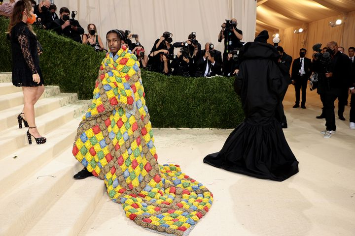 ASAP Rocky and Rihanna attend the 2021 Met Gala.
