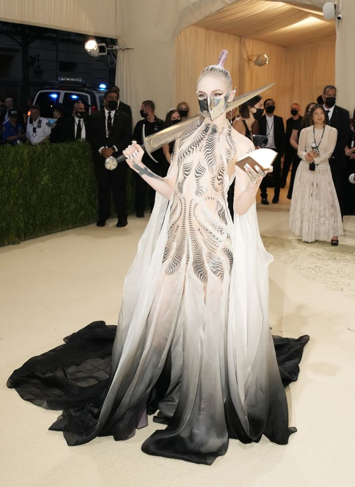 """Grimes attends the 2021 Met Gala, """"Celebrating In America: A Lexicon Of Fashion,"""" at the Metropolitan Museum of Art on Monday"""