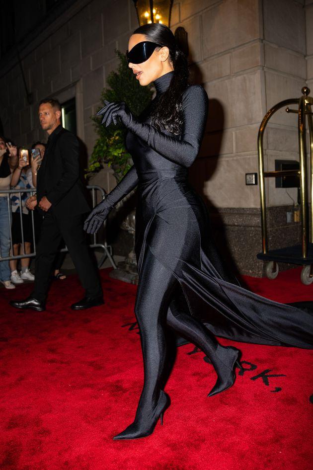 NEW YORK, NEW YORK - SEPTEMBER 13: Kim Kardashian is seen in Midtown on September 13, 2021 in New York...