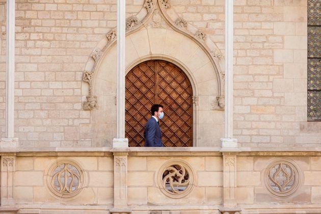 El presidente de la Generalitat, Pere Aragonès, tras la comparecencia que ha