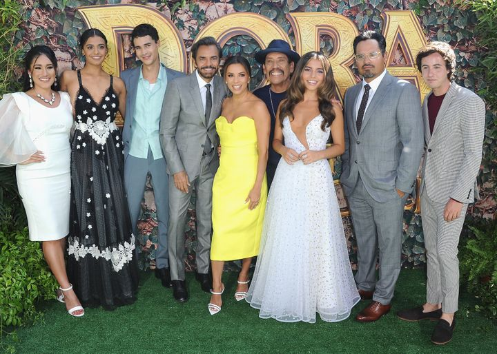 """Q'orianka Kilcher, Madeleine Madden, Jeff Wahlberg, Eugenio Derbez, Eva Longoria, Danny Trejo, Isabela Moner, Michael Peña and Nicholas Coombe at the 2019 Los Angeles premiere of """"Dora and the Lost City of Gold,"""" the only recent movie to feature five top-billed Hispanic/Latino actors."""