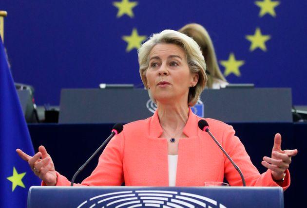 Ursula von der Leyen, durante su intervención en Estrasburgo, este
