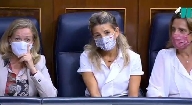 La cara de Nadia Calviño ante las palabras de García
