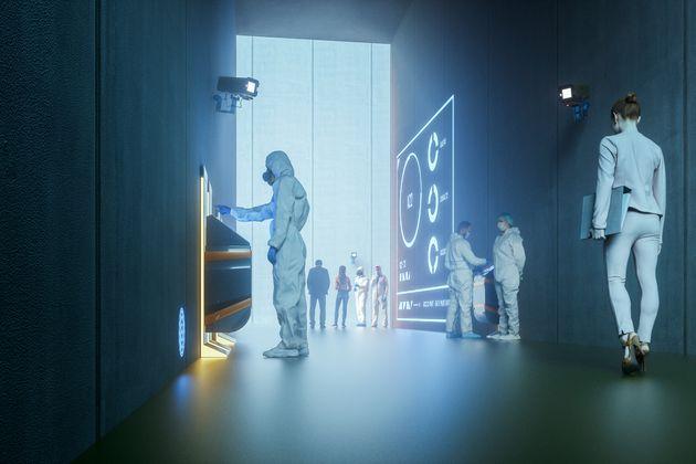 Businesswoman walking in futuristic city, 3D generated